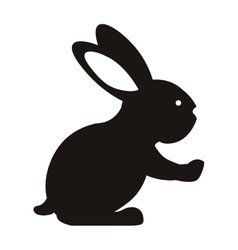 black silhouette rabbit with long ears vector image