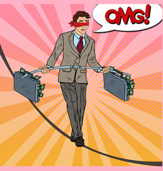 Pop art scared business man walking on the rope vector