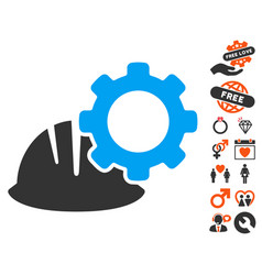 Helmet and gear icon with dating bonus vector