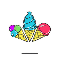 sweet cartoon cold ice cream tasty frozen vector image