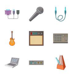 sound dj icons set cartoon style vector image