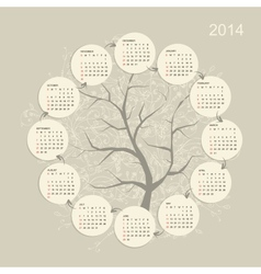 Calendar grid 2014 for your design vector image