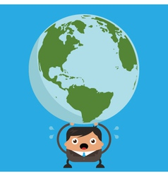 Business man holding heavy planet earth vector