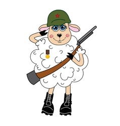 Sheep in a helmet and with gun character vector