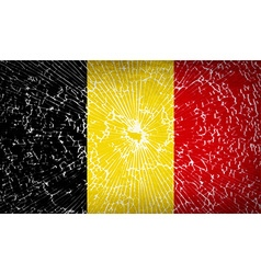 Flags belgium with broken glass texture vector