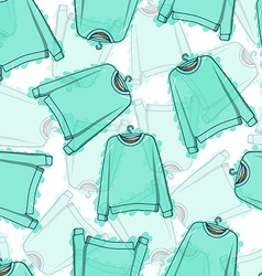 Seamless pattern of transparent blue sweatshirts vector