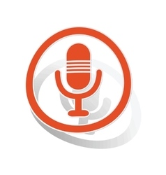 Microphone sign sticker orange vector