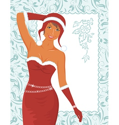 christmas girl with invitation - vector image