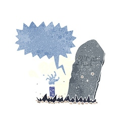 Cartoon zombie rising from grave with speech vector