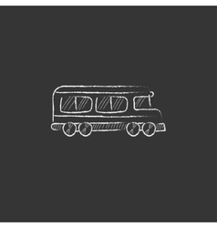 School bus drawn in chalk icon vector