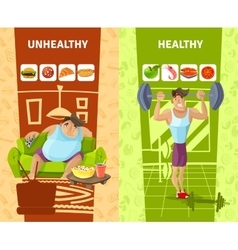 Healthy and unhealthy man banners set vector