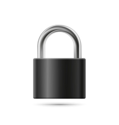 Realistic padlock  closed black lock vector