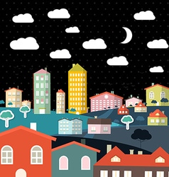 Abstract Night Flat Design City vector image vector image