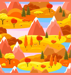 Autumn seamless pattern with trees mountains and vector