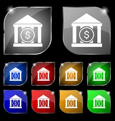 bank icon sign Set of ten colorful buttons with vector image