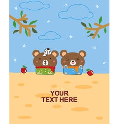 bear with apple vector image vector image