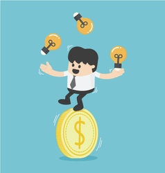Businessman juggling with light bulbs on a dollar vector