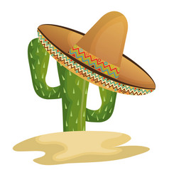Cactus character with mexican hat vector