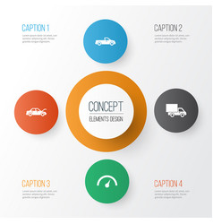 Car icons set collection of fixing carriage vector