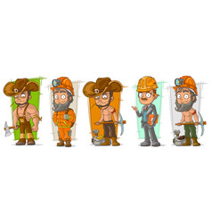 Cartoon digger lumberjack character set vector