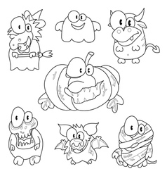 Collection of halloween creatures vector image