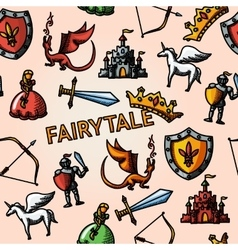 Color hand drawn fairytale pattern with - sword vector image vector image