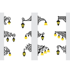 Decorative stylized wall lanterns vector image
