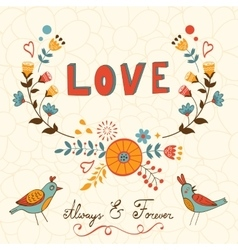Elegant love card with birds vector image vector image