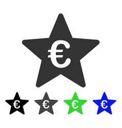 Euro hit parade star flat icon vector