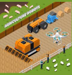 Farming robots isometric composition vector