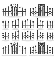 fence gates icon set symbol vector image vector image