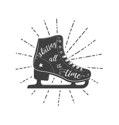 figure skate typographic poster vector image vector image