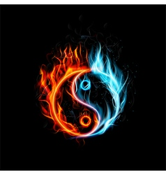 Fire burning yin yang with black background vector