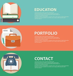 Flat style business portfolio contact and vector image vector image