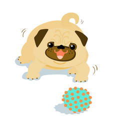 happy pug dog and a ball vector image vector image