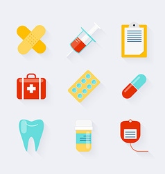 Medicine icons set in flat design elements of vector