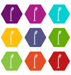 Microphone on stand icon set color hexahedron vector