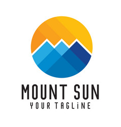 Mount sun logo template vector