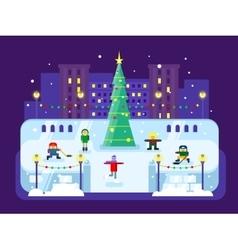 Municipal skating rink Christmas tree vector image vector image