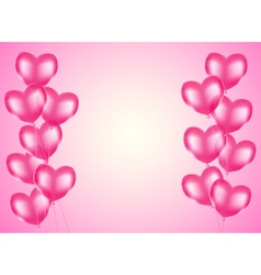 pink heart balloons vector image vector image