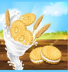 Promotion banner for milky cookies brand vector