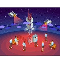 Public wireless technology satellites isometric vector