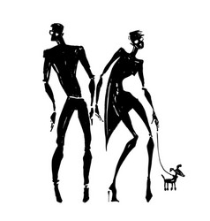 silhouettes of woman and man vector image vector image