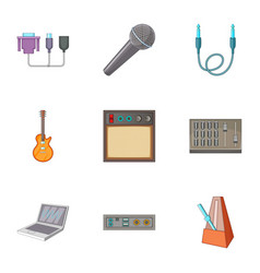 Sound dj icons set cartoon style vector
