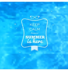 Summer card blue water pool blurry background vector