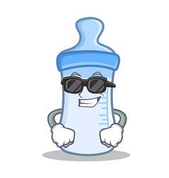 Super cool baby bottle character cartoon vector