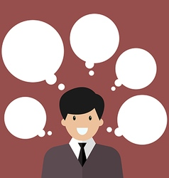 Thinking businessman with a lot of bubbles vector