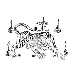 tiger thai traditional painting tattoo vector image vector image