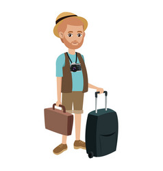 Tourist man journey with baggage vector