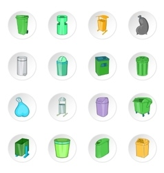 Trash can icons set cartoon style vector image vector image